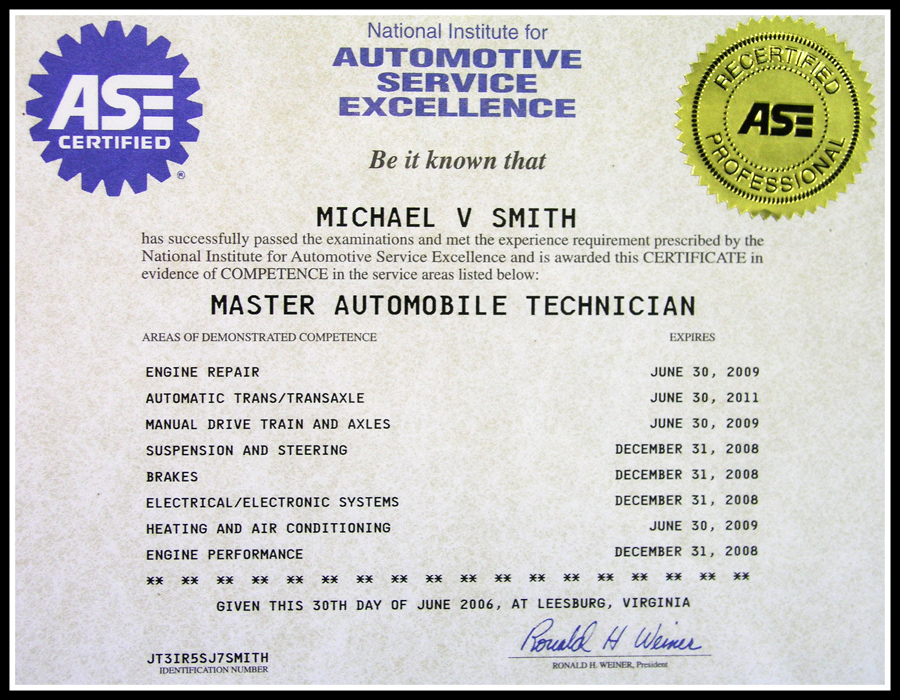 Ase certification certificates printable related keywords ase certification certificates for Fake ase certification